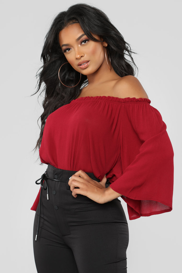 Keep It Moving Off Shoulder Top - Wine