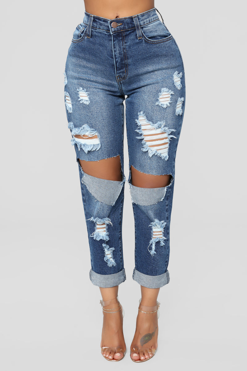 Paparazzi Princess Distressed Boyfriend Jeans - Medium Blue