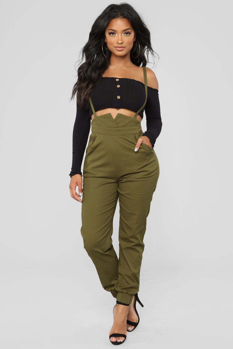 6360067e0ee Getting Down To Business Overall Pants - Olive