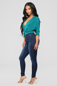 Alexa High Rise Skinny Jeans - Dark Denim