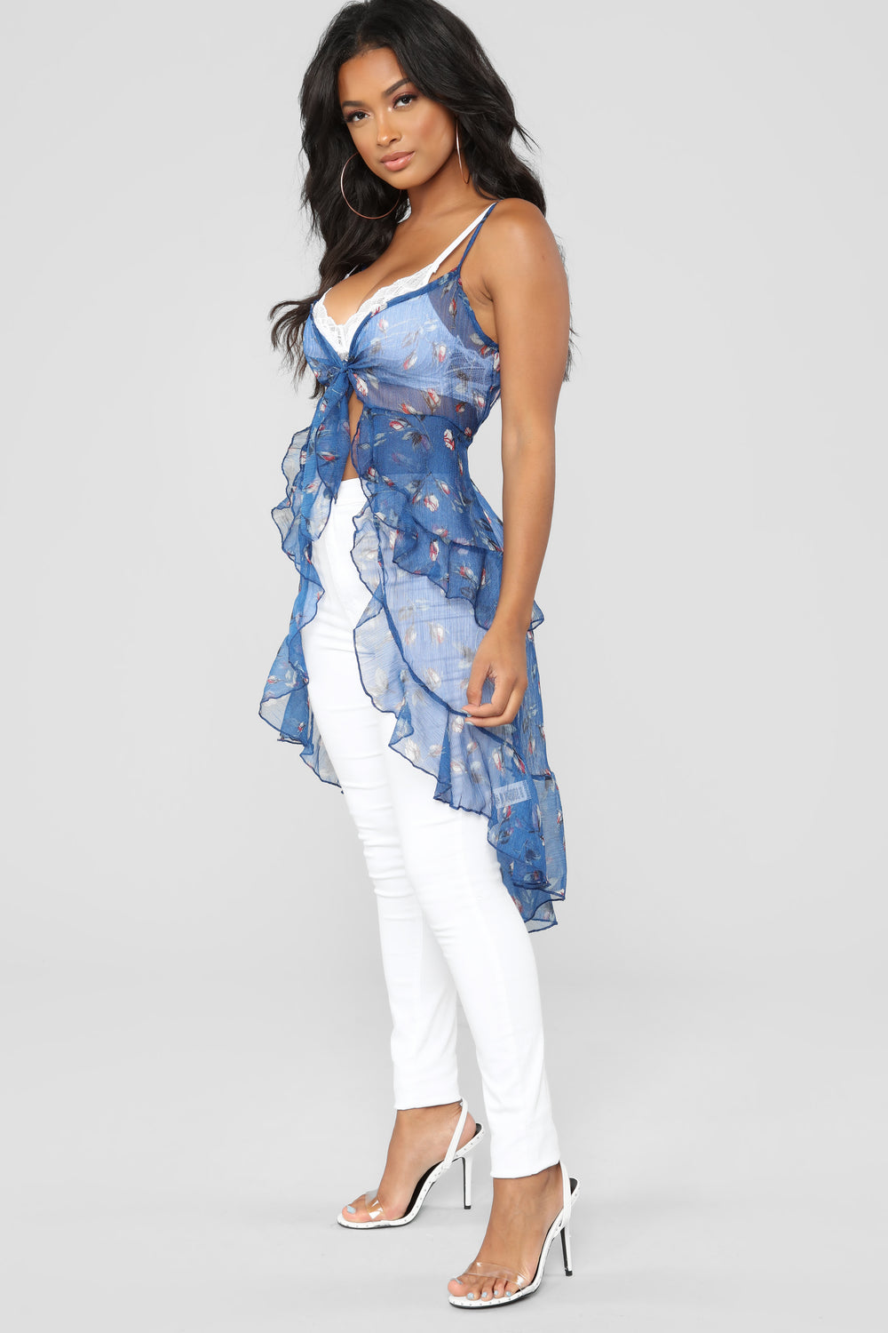 Forever Dreamin' Ruffle Top - Blue/combo