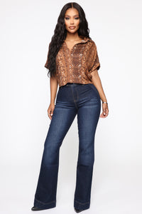 Sneak Into Your Heart Snake Top - Brown/Combo