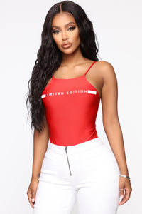 Fit And Fab Bodysuit - Red Angle 3