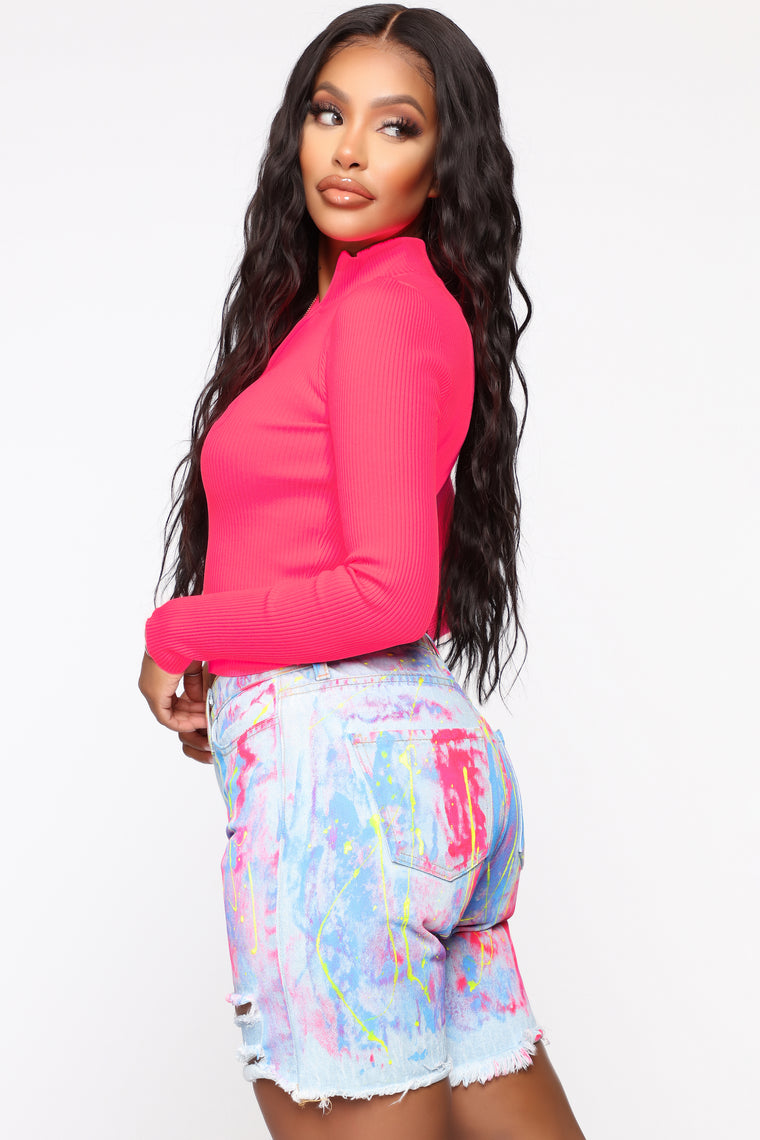 Not Thinking About You Ribbed Sweater - Neon Pink