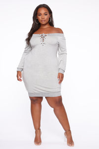 Tell Me The Sitch Dress - Heather Grey Angle 3