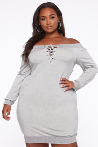 Tell Me The Sitch Dress - Heather Grey Angle 1