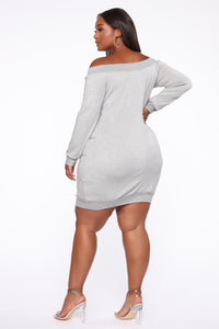 Tell Me The Sitch Dress - Heather Grey Angle 4