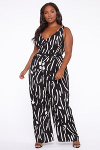 Ride For Me Wide Leg Jumpsuit - Black/White Angle 1