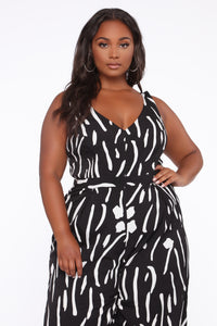 Ride For Me Wide Leg Jumpsuit - Black/White Angle 2