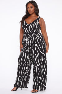 Ride For Me Wide Leg Jumpsuit - Black/White Angle 3