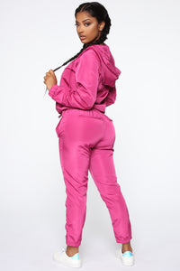 Come On Over Windbreaker Joggers - Magenta