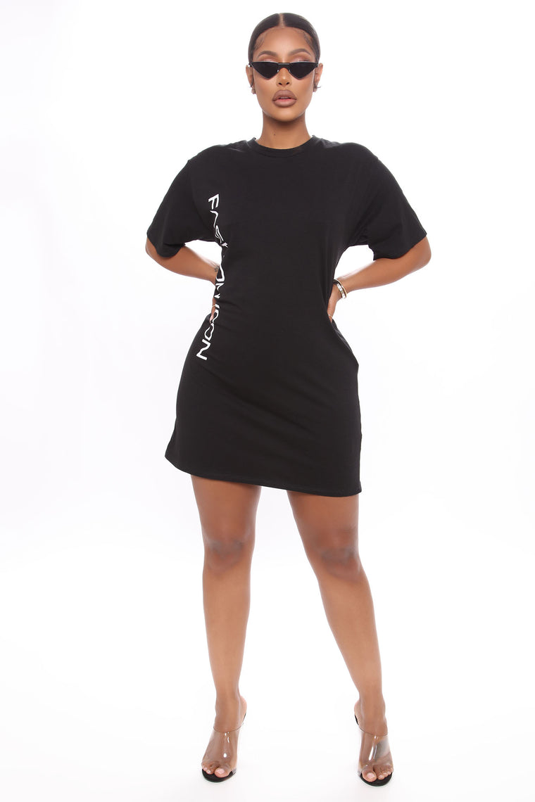 Fashion Icon Tee Dress - Black