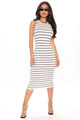 I'm Just Your Stripe Midi Dress - White/Black
