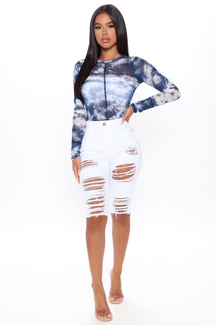 Catch This Vibe Tie Dye Crop Top - Blue/combo