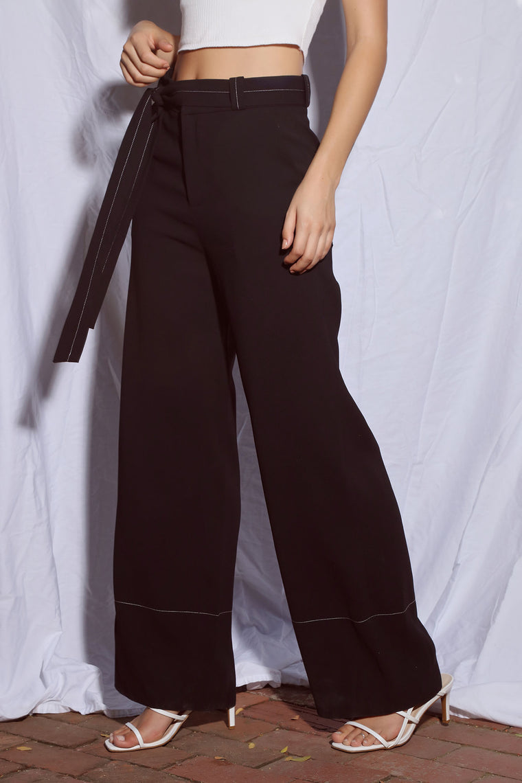 Michelle Wide Leg Trouser - Black