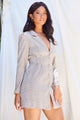 Kay Plaid Blazer Dress - Grey