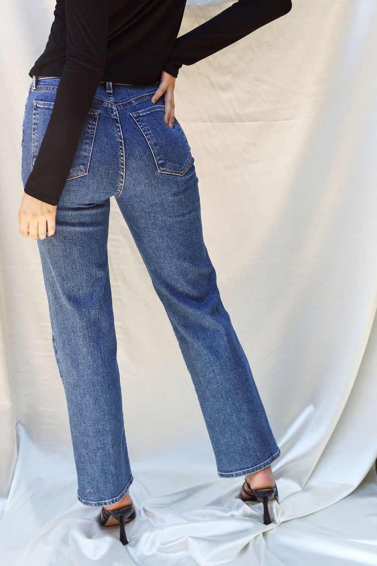 Melinna High Rise Straight Jean - Medium Blue Wash