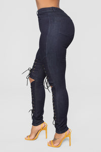 Double Trouble Lace Up Front Jeans - Dark Denim