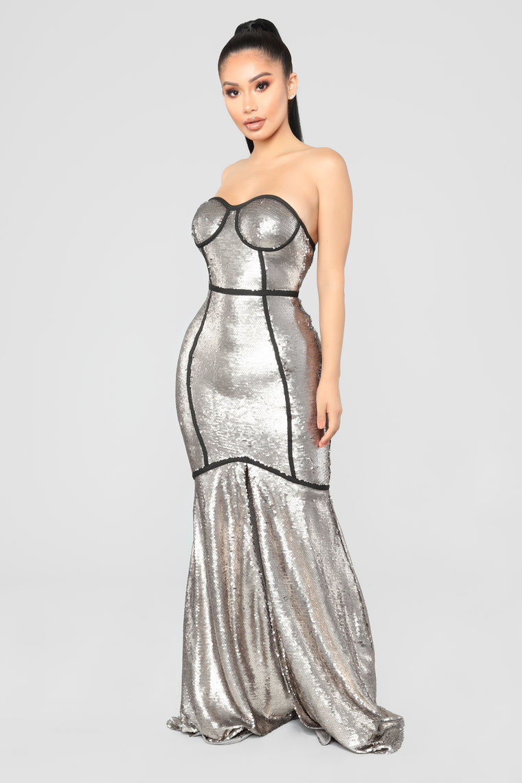 Met Gala Sequin Dress - Matte Silver