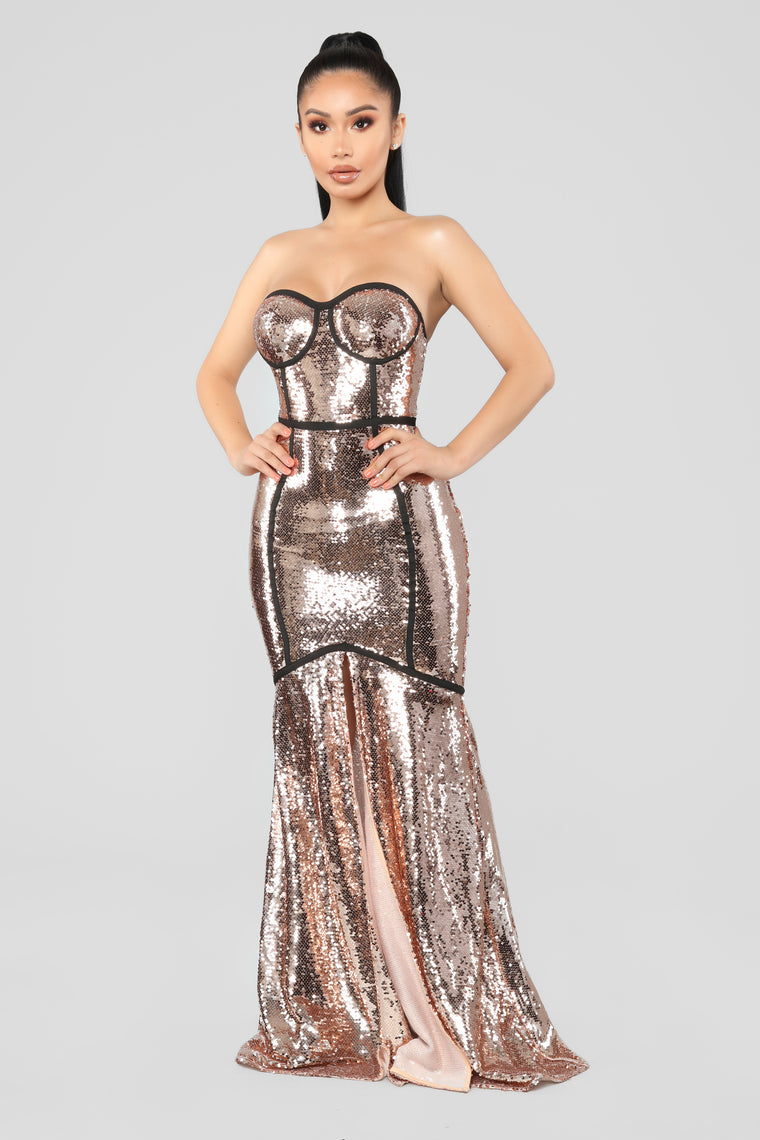 Met Gala Sequin Dress - RoseGold