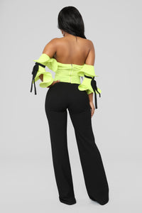 Ruffle Affair Cold Shoulder Top - Chartreuse