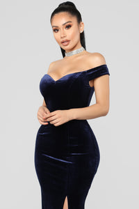 Ready For The Party Velvet Dress - Navy