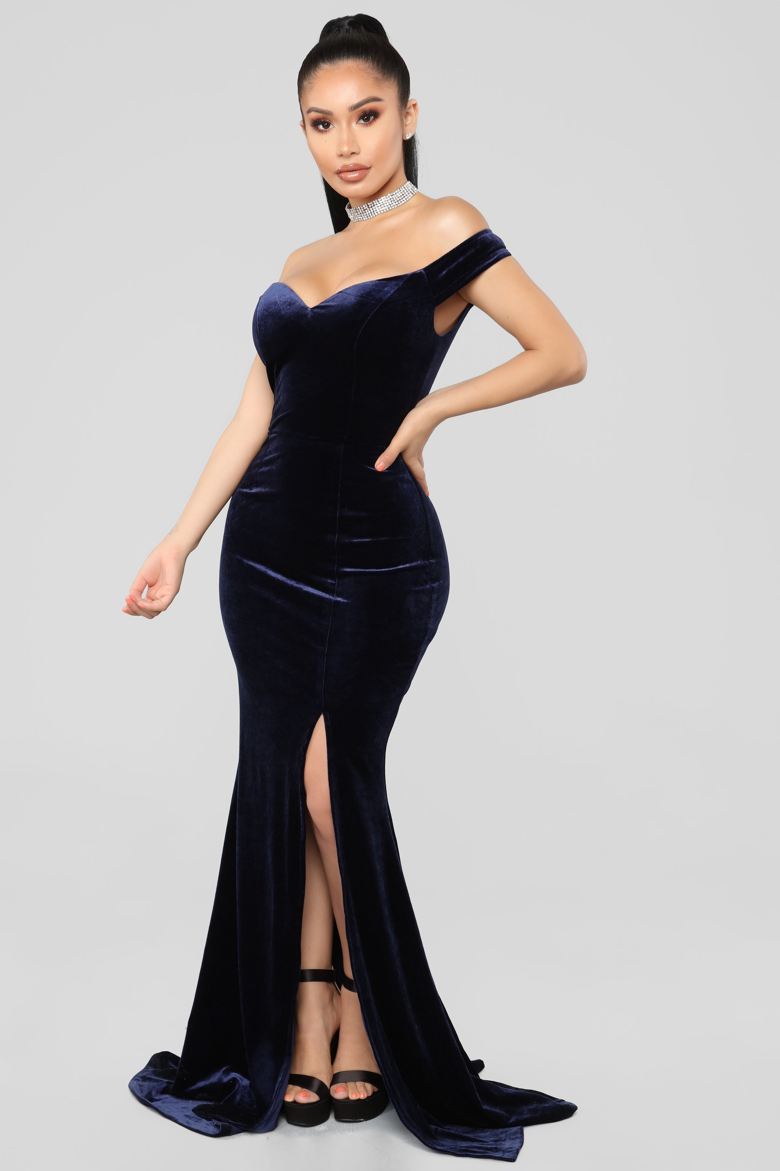 bd91fe4b73f Ready For The Party Velvet Dress - Navy
