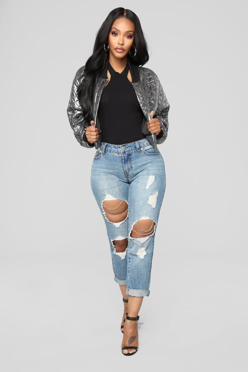 Chained To Love Boyfriend Jeans - Medium Blue Wash