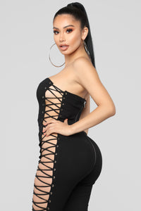 Dang Girl Lace Up Jumpsuit - Black