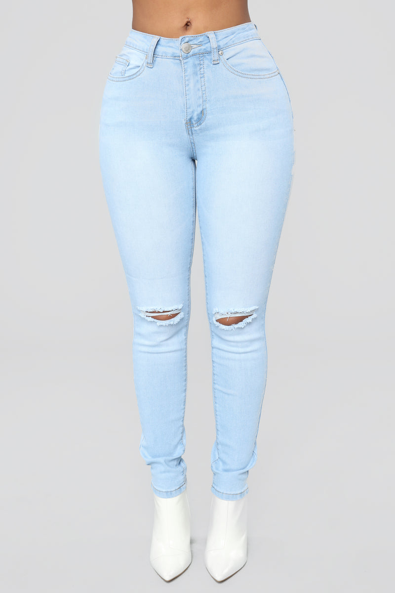 A Cut Above Distressed Striped Jeans - Light Wash