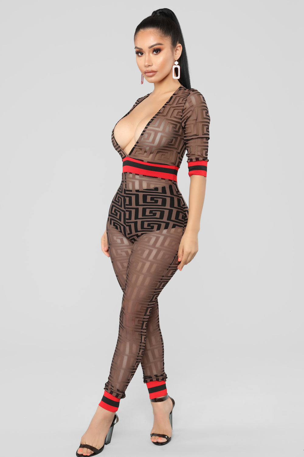 Can't Forget Me Mesh Jumpsuit - Brown