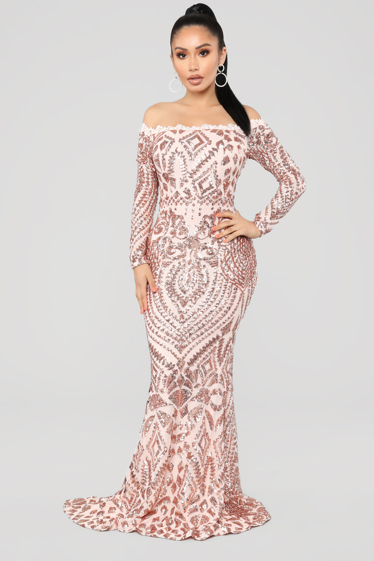 b187cd32 Chloe RoseGold Sequin Dress - RoseGold