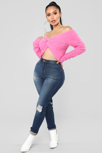 Bend and Snap Fuzzy Cropped Sweater - Pink