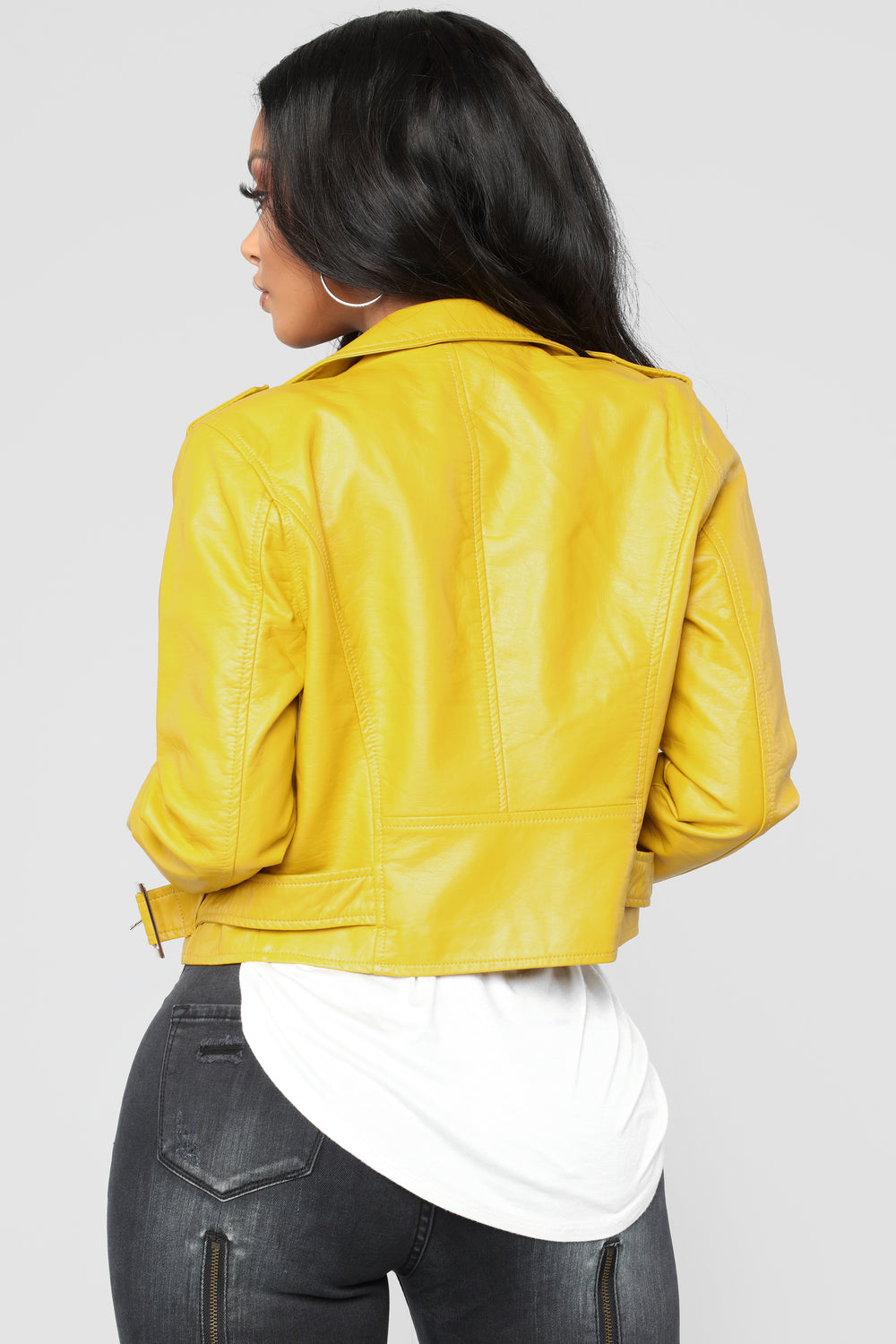 Remind Me Later Faux Leather Jacket - Mustard