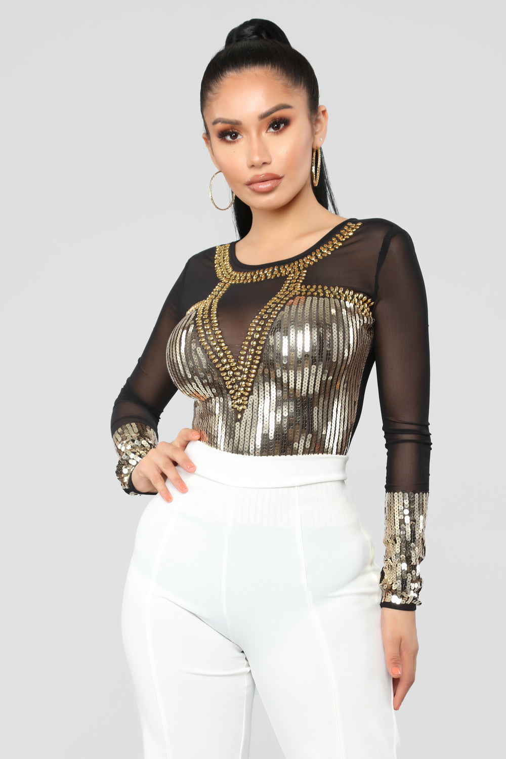 Elizabeth Sequin Bodysuit - Black