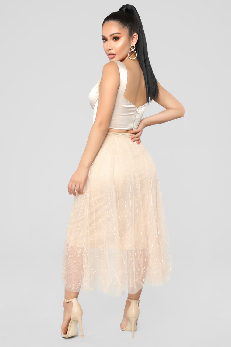 One Of A Kind Pearl Skirt - Nude