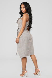 Out Of The Trenches Plaid Dress - Light Brown Angle 3