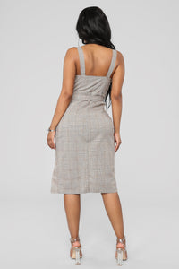 Out Of The Trenches Plaid Dress - Light Brown Angle 4