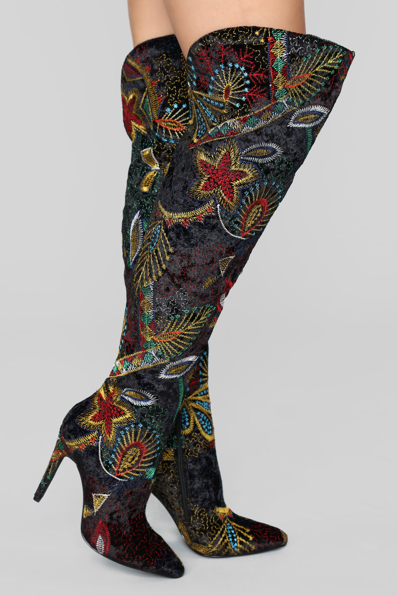 Never Letting Go Heeled Boot - Print