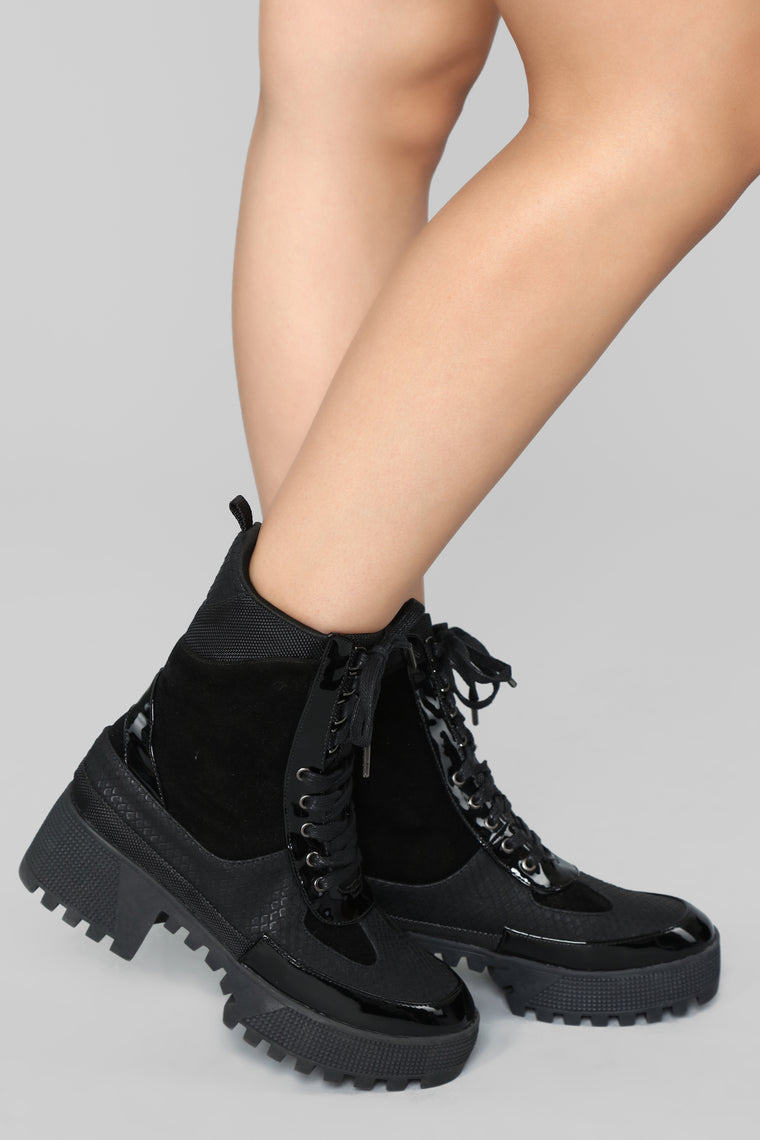 On What Grounds Platform Bootie - Black