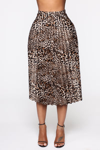 Pleat Yourself Midi Skirt - Leopard