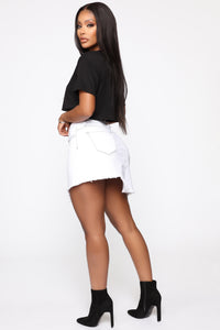 Better With You Denim Skirt - White Angle 4