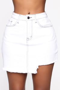 Better With You Denim Skirt - White Angle 1