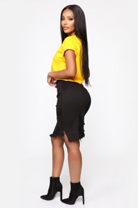 Live 2 Luv Distressed Mini Pencil Skirt - Black Angle 4