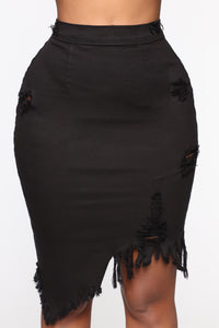 Live 2 Luv Distressed Mini Pencil Skirt - Black Angle 1