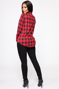 Just Got Plaid Button Down Top - Red/Black