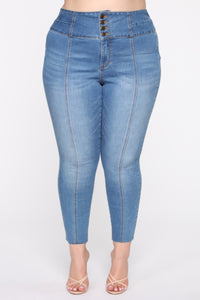 Perfect Proportions Exposed Buttons Skinny Jean - Med Wash Angle 2