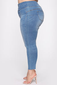 Perfect Proportions Exposed Buttons Skinny Jean - Med Wash Angle 4