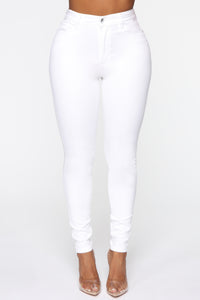 Monday Morning Skinny Pants - White Angle 1