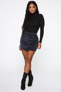 On My Level Corduroy Mini Skirt - Navy Angle 1